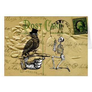 Cuervo y esqueleto tarjeta pequeña