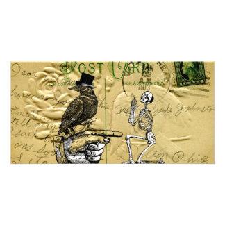 Cuervo y esqueleto tarjetas con fotos personalizadas