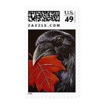 Cuervo y hoja del otoño sellos