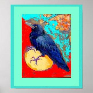 Cuervo y huevo en turquesa por Sharles Póster