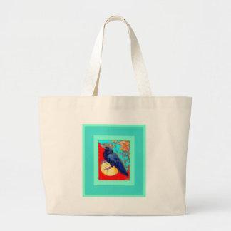 Cuervo y huevo w/Turquoise del ébano por Sharles Bolsa Tela Grande