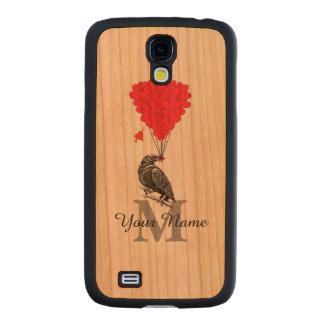 Cuervo y monograma personalizado corazón rojo funda de galaxy s4 slim cerezo