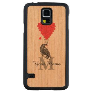 Cuervo y monograma personalizado corazón rojo funda de galaxy s5 slim cerezo