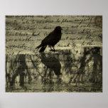 Cuervo y papeles del Poe Posters