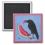 cuervo y sandía imán para frigorífico
