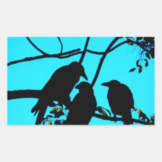 Cuervos de la paz y de la alegría de la diversión pegatina rectangular