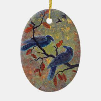 Cuervos del otoño adorno navideño ovalado de cerámica
