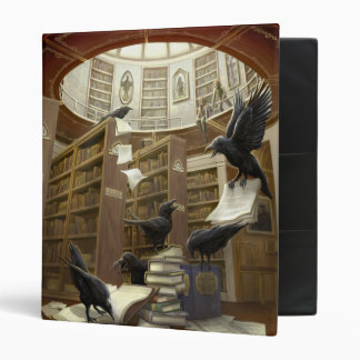 Cuervos en la carpeta de la biblioteca