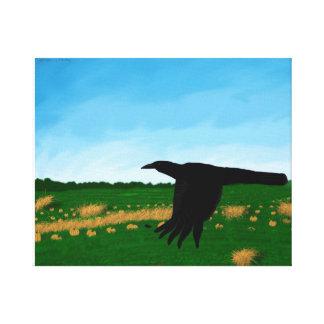 Cuervos en la pintura del remiendo de la calabaza impresiones en lona