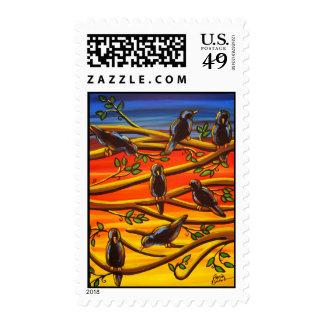 Cuervos en sellos del arte popular del arte de la