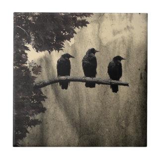 Cuervos encaramados azulejo cuadrado pequeño