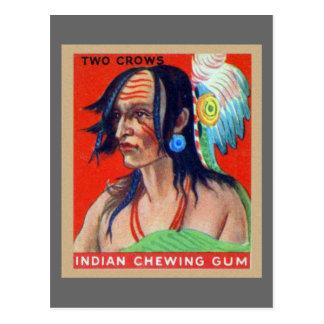 Cuervos indios retros del chicle dos del kitsch postal