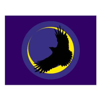 Cuervos luna media luna raven crescent moon postal