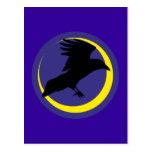 Cuervos luna media luna raven crescent moon tarjetas postales