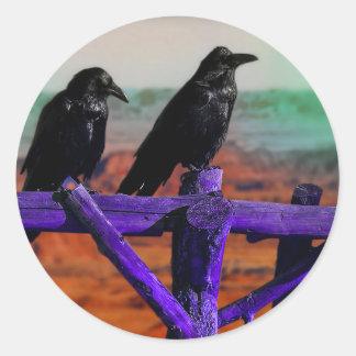 Cuervos Pegatina Redonda