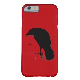 Cuervos retros del rojo del gótico de la silueta funda para iPhone 6 barely there