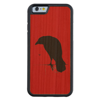 Cuervos retros del rojo del gótico de la silueta funda de iPhone 6 bumper cerezo
