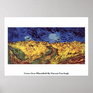 Cuervos sobre Wheatfield de Vincent van Gogh Póster
