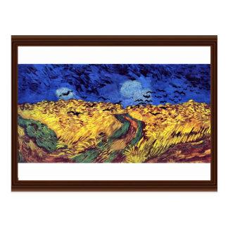 Cuervos sobre Wheatfield de Vincent van Gogh Postal