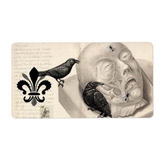 Cuervos y cadáver etiquetas de envío