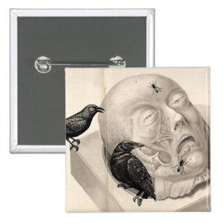 Cuervos y cadáver pin cuadrado