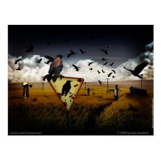 cuervos y espantapájaros postal