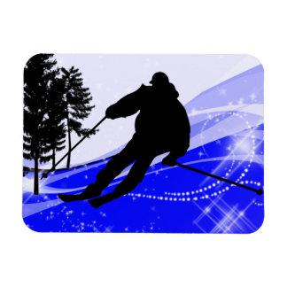 Cuesta abajo en la cuesta del esquí imán rectangular