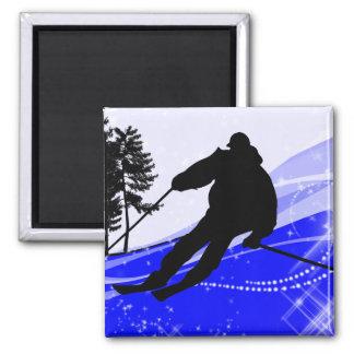 Cuesta abajo en la cuesta del esquí imán cuadrado