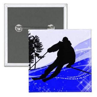 Cuesta abajo en la cuesta del esquí pin cuadrado
