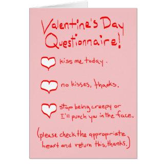 Cuestionario de la tarjeta del día de San Valentín