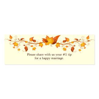 Cuestionario del boda del follaje del otoño tarjetas de visita