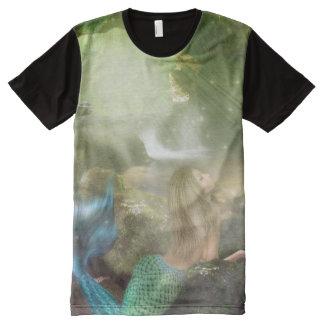 Cueva de la sirena por todo la camiseta de la playeras con estampado integral
