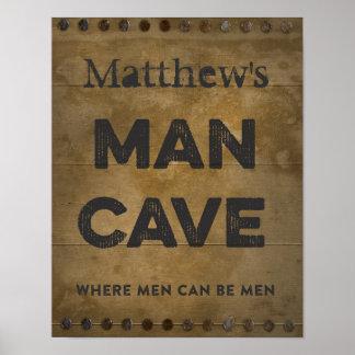 Cueva de madera del hombre personalizada poster