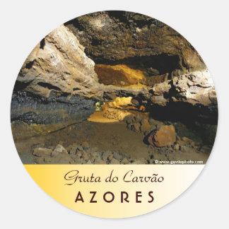Cueva del tubo de lava pegatina redonda