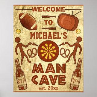 Cueva divertida del hombre con su personalizado poster