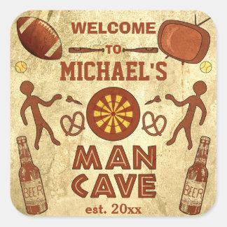 Cueva divertida del hombre con su personalizado pegatina cuadrada