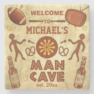 Cueva divertida del hombre con su personalizado posavasos de piedra
