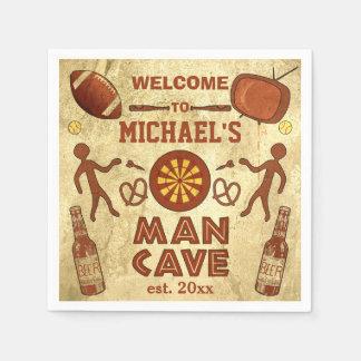 Cueva divertida del hombre con su personalizado servilleta desechable