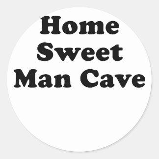 Cueva dulce casera del hombre pegatina redonda