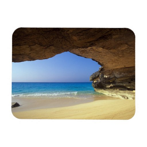 Cueva en la bahía francesa, isla de San Salvador, Imán De Vinilo