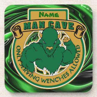 Cueva verde del hombre del búfalo posavasos de bebidas