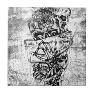 Cueza los cráneos al vapor ilustrados mano punky e azulejo ceramica