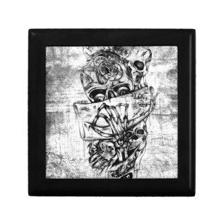 Cueza los cráneos al vapor ilustrados mano punky e cajas de joyas