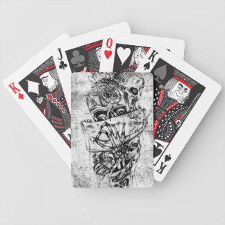 Cueza los cráneos al vapor ilustrados mano punky e baraja cartas de poker