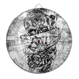 Cueza los cráneos al vapor ilustrados mano punky e tablero de dardos