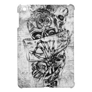 Cueza los cráneos al vapor ilustrados mano punky e iPad mini funda