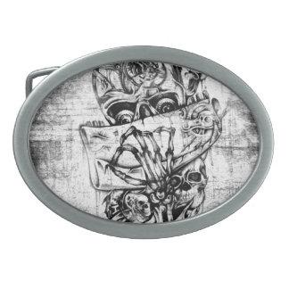 Cueza los cráneos al vapor ilustrados mano punky e hebillas de cinturón ovales