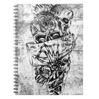 Cueza los cráneos al vapor ilustrados mano punky e libreta