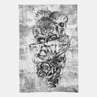 Cueza los cráneos al vapor ilustrados mano punky e toalla de mano