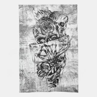 Cueza los cráneos al vapor ilustrados mano punky e toallas de cocina